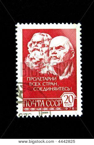 alte Sowjetische Briefmarke mit Marx und lenin