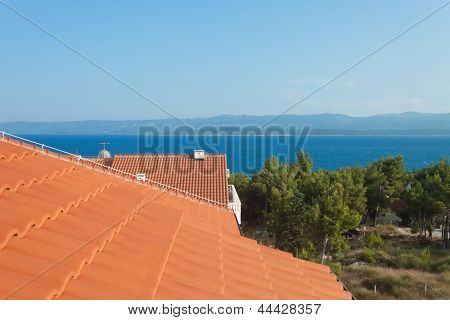 Seaview from rooftop in mediterranean environment