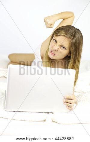 Beautiful Woman Ready To Punch Technology