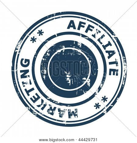 Affiliate marketing concept stamp isolated on a white background.