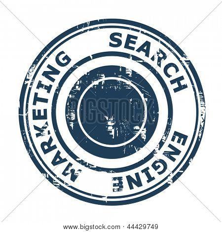 Search Engine Marketing concept stamp isolated on a white background.