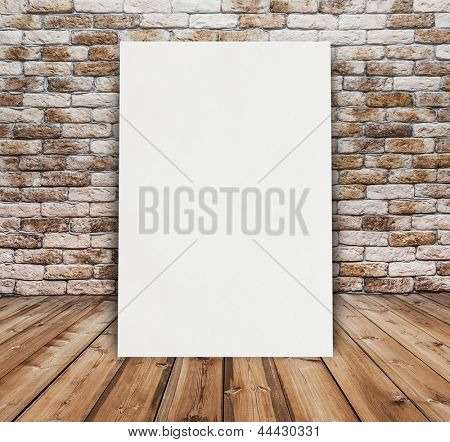 billboard in old room with brick wall
