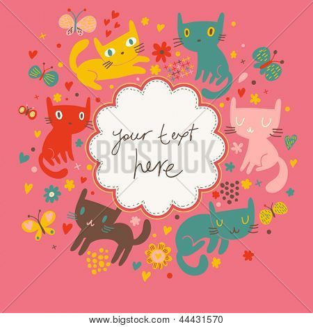 Funny cartoon cats in vector. Bright childish card. Ideal for birthday invitations.