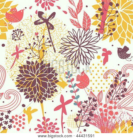 Bright abstract floral wallpaper in vector. Seamless pattern can be used for wallpaper, pattern fills, web page backgrounds, surface textures. Gorgeous seamless floral background