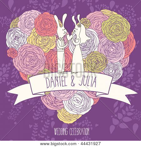 Save the date card. Bright wedding invitation in violet colors. Cute funny rabbits on stylish heart made of flowers in vector