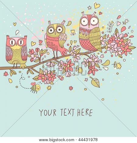 Cute owls on branch in flowers. Spring concept background.  Bright illustration, can be used as invitation card. Vector summer wallpaper