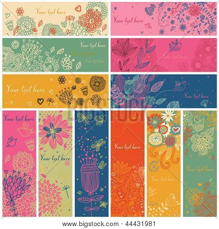 Floral banners in vector set. 12 floral cards. Summer, spring and autumn concept banners