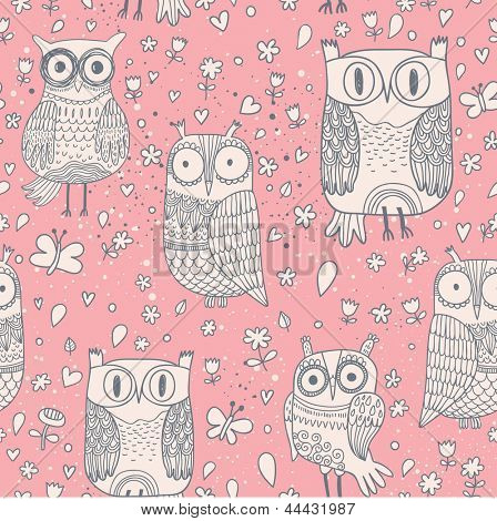 Cute cartoon owls in funny style. Seamless pattern can be used for wallpapers, pattern fills, web page backgrounds, surface textures. Gorgeous seamless background with birds
