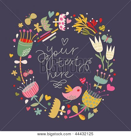 Cartoon vector card with cute bird. Floral wedding invitation in bright colors. Stylish save the date card