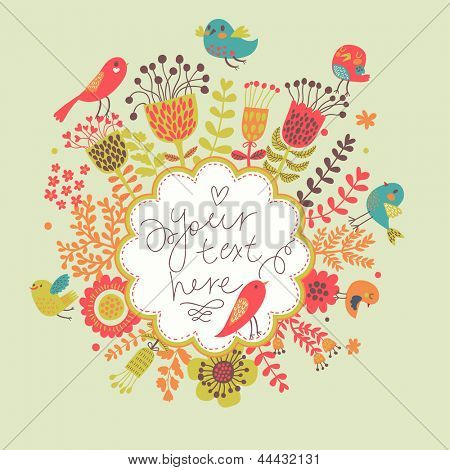 Bright floral card with cute cartoon birds in vector. Stylish invitation in bright colors. Summer concept background