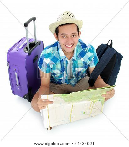 Traveler Using Map
