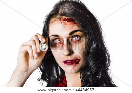 Zombie Woman Holding Flashlight On White
