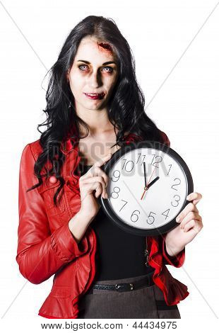 Scary Halloween Woman Holding Clock