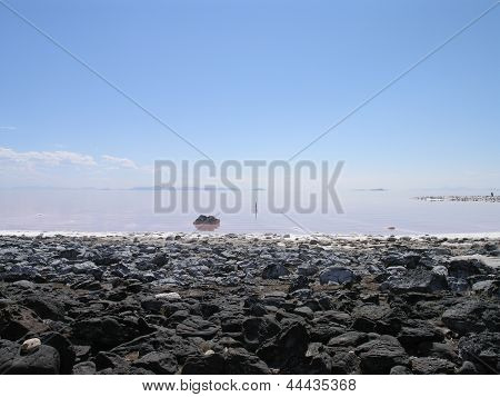Rocky Shoreline Of The Great Salt Lake