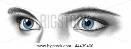 Weibliche Augenpaar