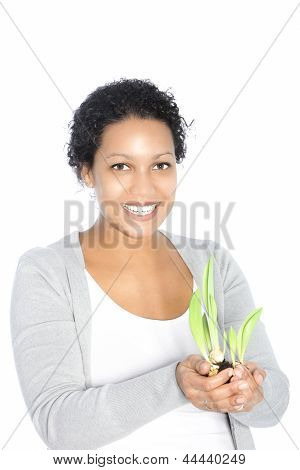 Smiling Woman With Sprouting Sping Bulbs