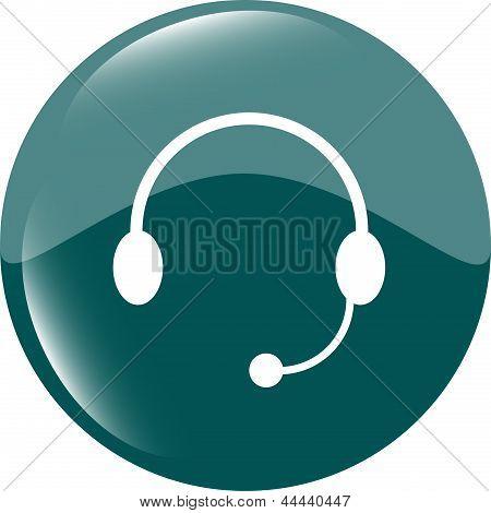 Headphones Icon On Round Internet Button Original Illustration