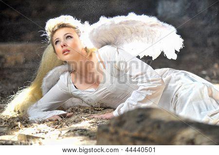 Beautiful Angel Woman Lies In Theatre