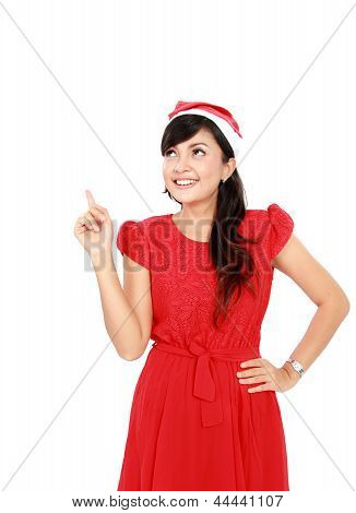 Attractive Woman In Red Pointing Up