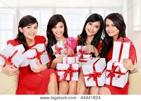 Woman Group With Many Gift Boxes