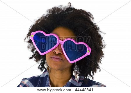 Funny Afro American With Pink Sunglasses