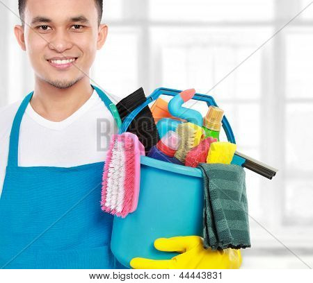 Male Cleaning Service Ready To Work
