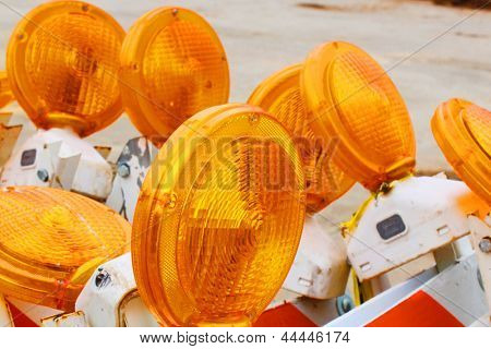 Traffic barricades with orange flashers