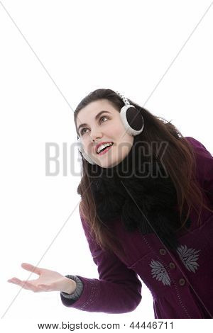 Young Attractive Woman Wearing Ear Muffs