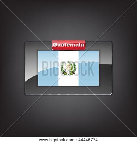Botão de vidro da bandeira da Guatemala