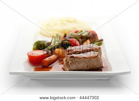 Pork Medallions with Mashed Potato and Vegetables