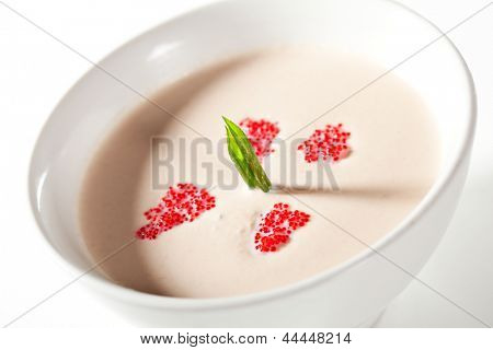 Cream of Salmon Soup with Greens and Red Flying Fish Roe