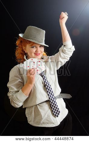 Beautiful Young Girl With Playing Cards