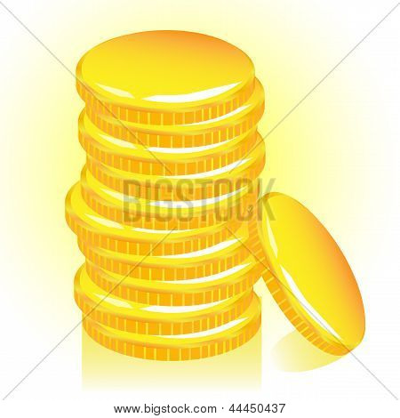 Stack of gold coins, vector.