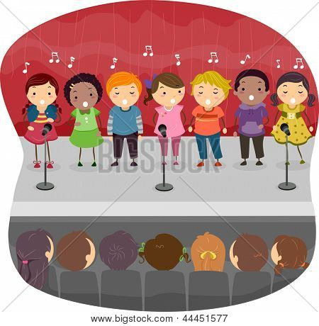 Illustration of Kids singing on the Stage