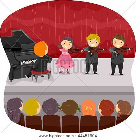 Illustration of Kids doing a Musical Recital