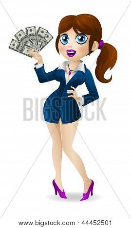 Attractive business woman holds in hands money