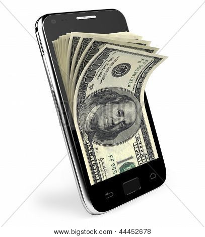 Teléfono inteligente con el concepto de dinero. Dólares.