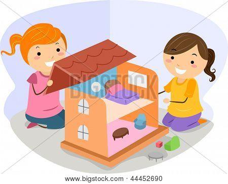 Vectores y fotos en stock de Ilustración de niñas jugando con una ...