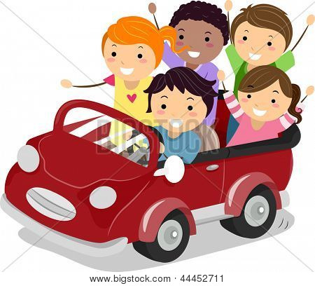Illustration of Stickman Kids riding a Toy Car