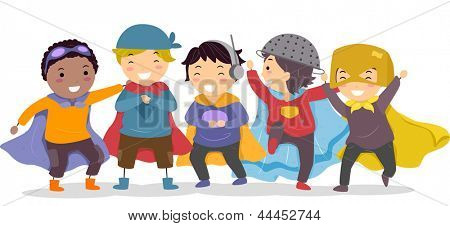 Illustration of Little Boys in their Superhero Costumes