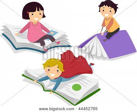 Illustration of Kids on Big Books