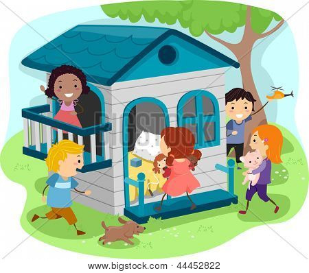 Illustration of Kids Playing on an Outdoor Playhouse