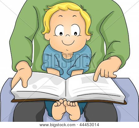 Illustration of a Happy Toddler Boy sitiing on his Father's Lap while his Father Reads a Book