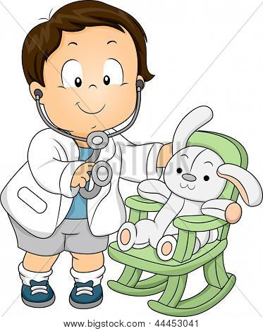Illustration of a Toddler Boy dressed as a Doctor with his Plush Bunny Patient