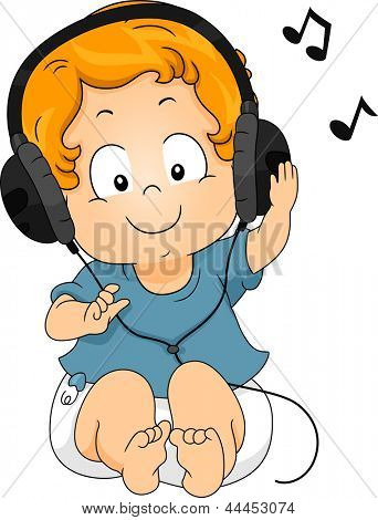 Illustration of a sitting Toddler Boy using Headphones while listening to Music