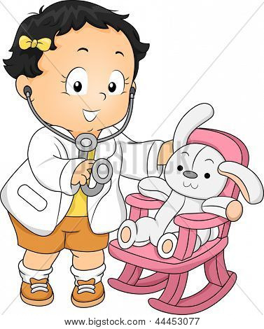 Illustration of a Toddler Girl dressed as a Doctor with his Plush Bunny Patient