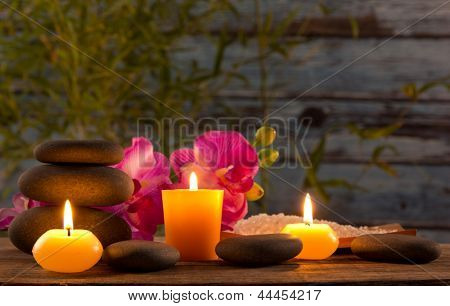 Spa still life with aromatic candles