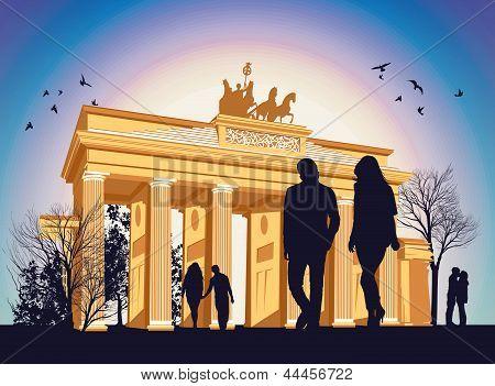 Brandenburg Gate With People Around