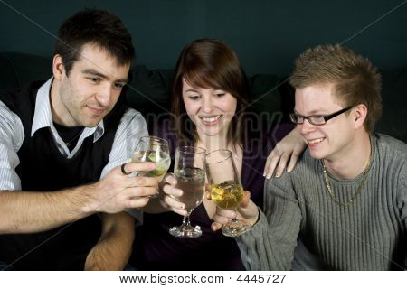 Three Friends Toasting