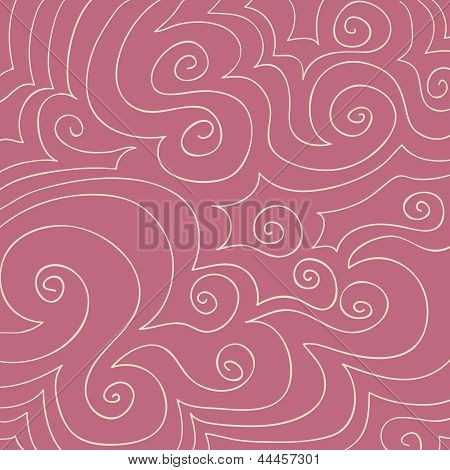 Cream Swirls Pattern On Dusty Rose Pink